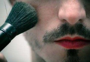 Man with Make up and Make Up Brush